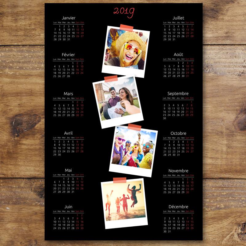 Calendrier Photos Personnalise.Calendrier Photo Personnalise 2019 Noir 4 Photos